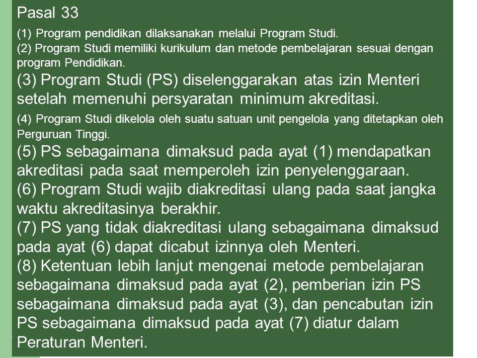 Pasal 33 (1) Program pendidikan dilaksanakan melalui Program Studi.