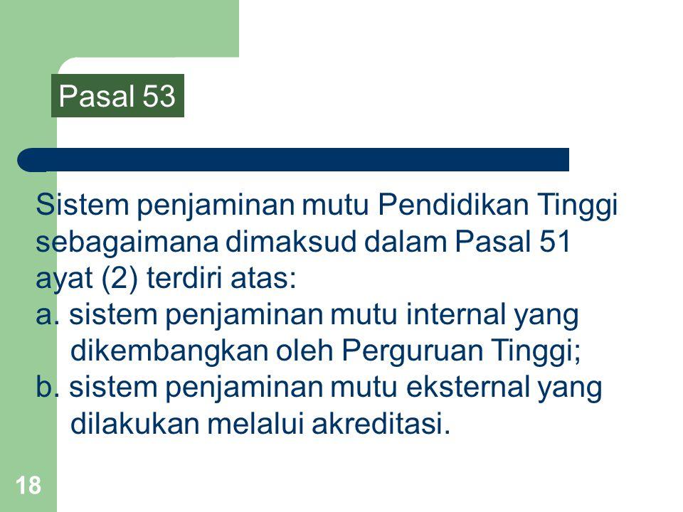 Pasal 53 Sistem penjaminan mutu Pendidikan Tinggi sebagaimana dimaksud dalam Pasal 51 ayat (2) terdiri atas: