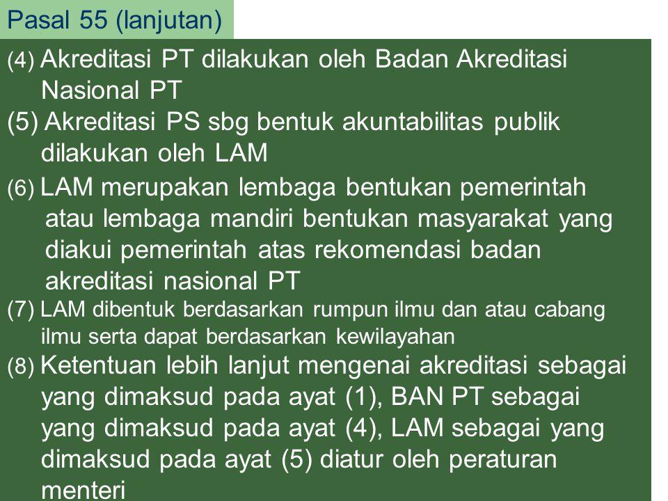 (5) Akreditasi PS sbg bentuk akuntabilitas publik dilakukan oleh LAM
