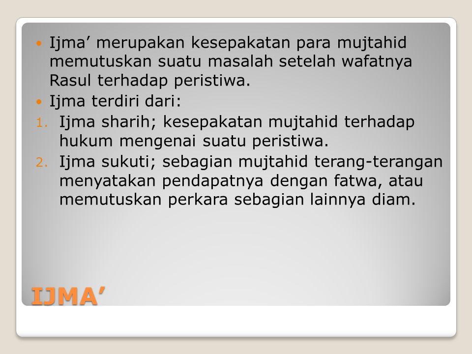 Ijma' merupakan kesepakatan para mujtahid memutuskan suatu masalah setelah wafatnya Rasul terhadap peristiwa.