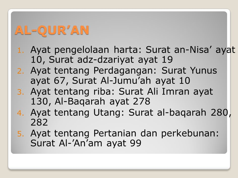 AL-QUR'AN Ayat pengelolaan harta: Surat an-Nisa' ayat 10, Surat adz-dzariyat ayat 19.