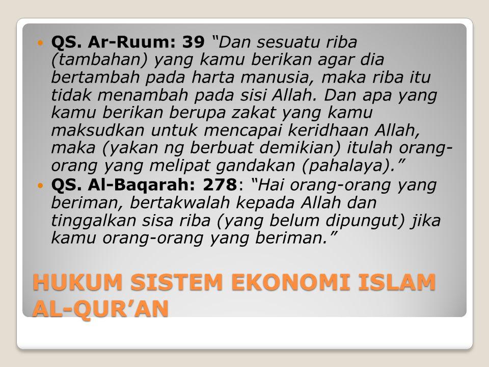 HUKUM SISTEM EKONOMI ISLAM AL-QUR'AN
