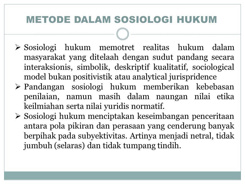 METODE DALAM SOSIOLOGI HUKUM