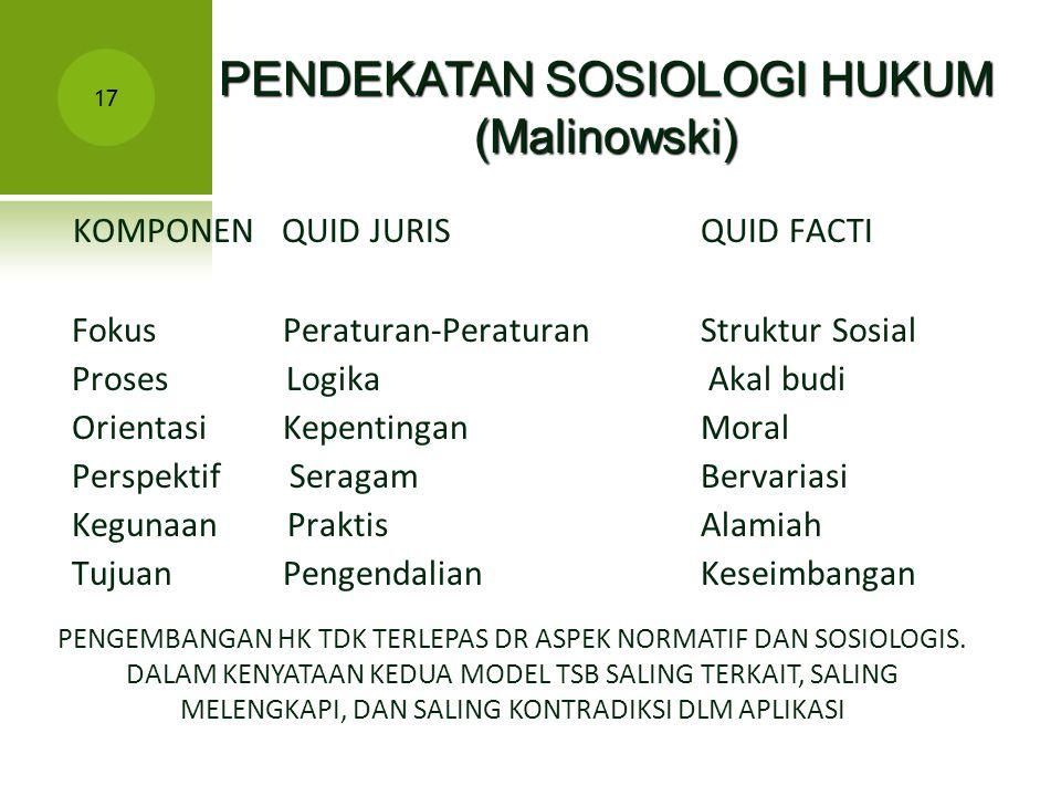 PENDEKATAN SOSIOLOGI HUKUM (Malinowski)
