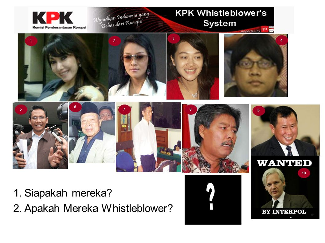 3 1 2 4 6 5 7 8 9 10 Siapakah mereka Apakah Mereka Whistleblower