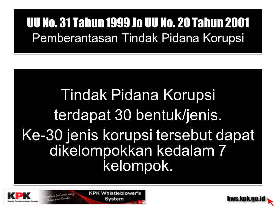 UU No. 31 Tahun 1999 Jo UU No. 20 Tahun 2001 Pemberantasan Tindak Pidana Korupsi