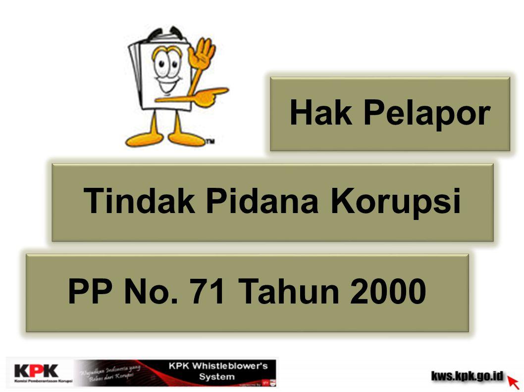 Hak Pelapor Tindak Pidana Korupsi PP No. 71 Tahun 2000