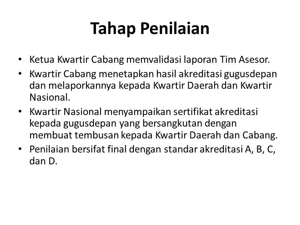 Tahap Penilaian Ketua Kwartir Cabang memvalidasi laporan Tim Asesor.