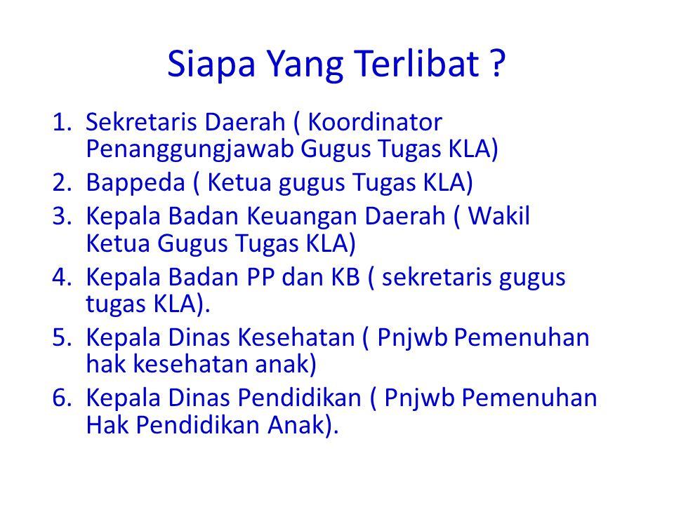 Siapa Yang Terlibat Sekretaris Daerah ( Koordinator Penanggungjawab Gugus Tugas KLA) Bappeda ( Ketua gugus Tugas KLA)
