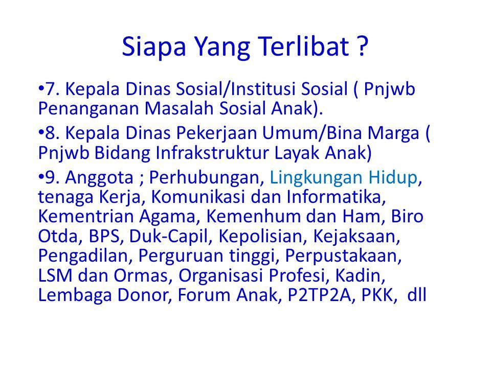 Siapa Yang Terlibat 7. Kepala Dinas Sosial/Institusi Sosial ( Pnjwb Penanganan Masalah Sosial Anak).