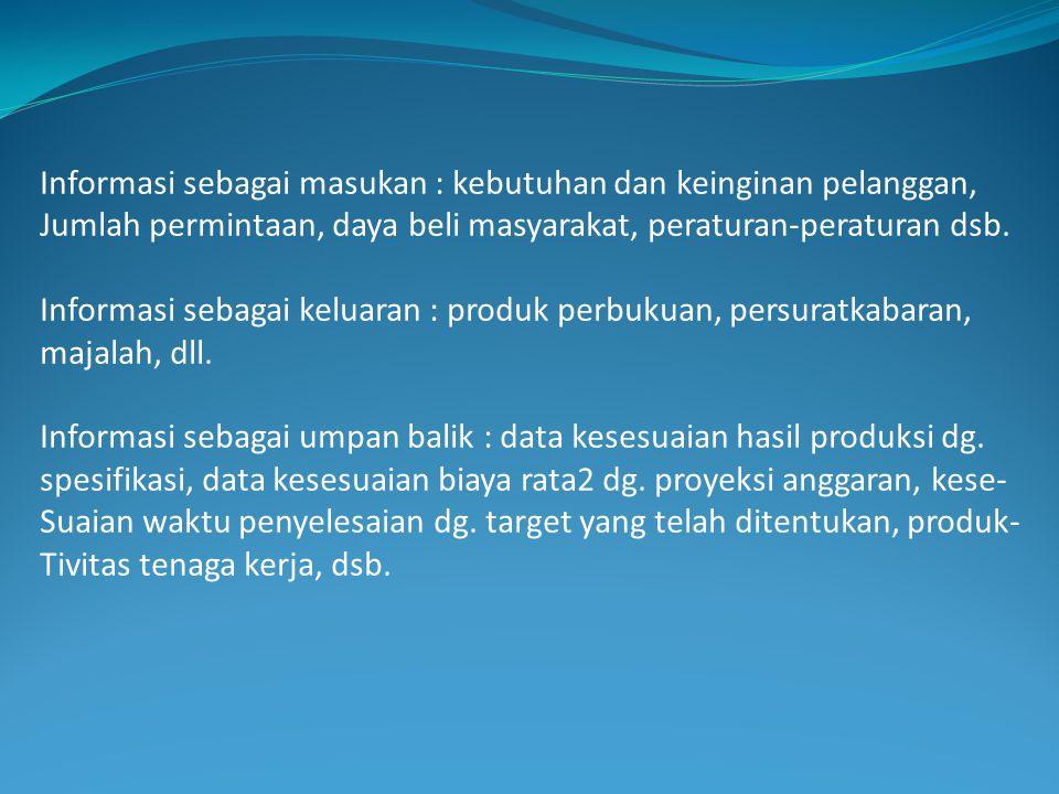 Informasi sebagai masukan : kebutuhan dan keinginan pelanggan,