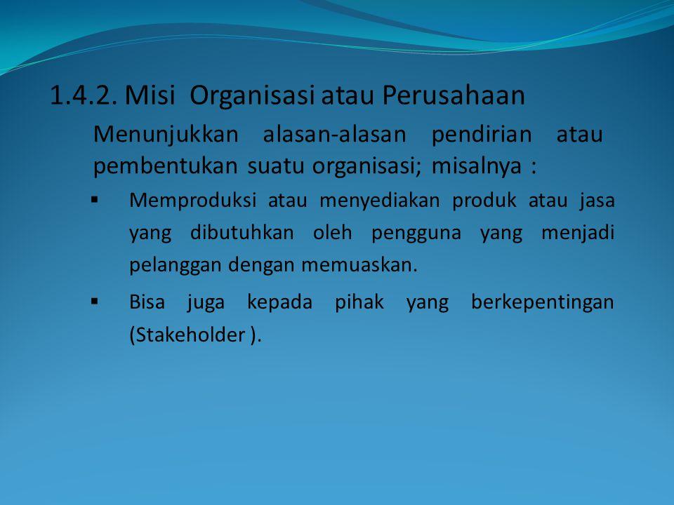 1.4.2. Misi Organisasi atau Perusahaan