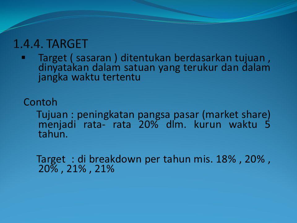 1.4.4. TARGET Target ( sasaran ) ditentukan berdasarkan tujuan , dinyatakan dalam satuan yang terukur dan dalam jangka waktu tertentu.