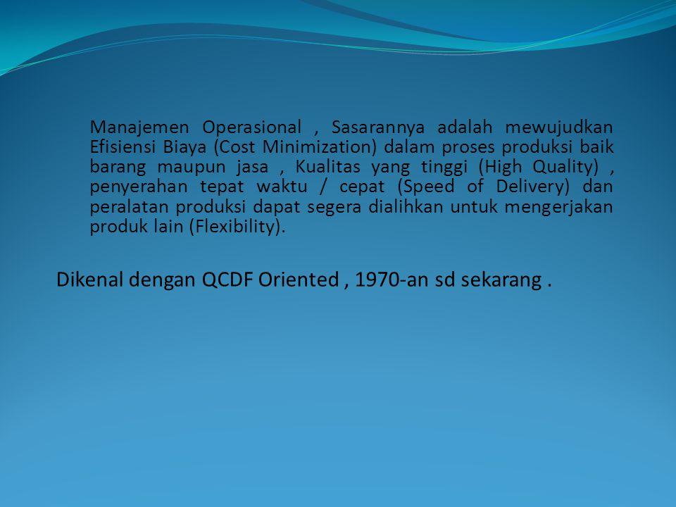 Dikenal dengan QCDF Oriented , 1970-an sd sekarang .