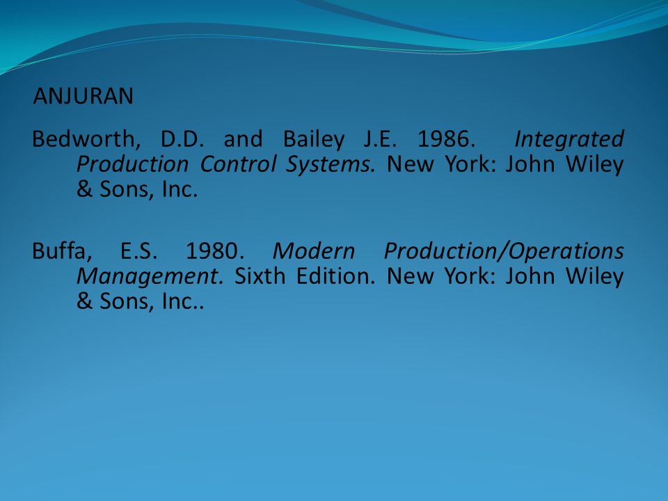 ANJURAN Bedworth, D.D. and Bailey J.E Integrated Production Control Systems. New York: John Wiley & Sons, Inc.