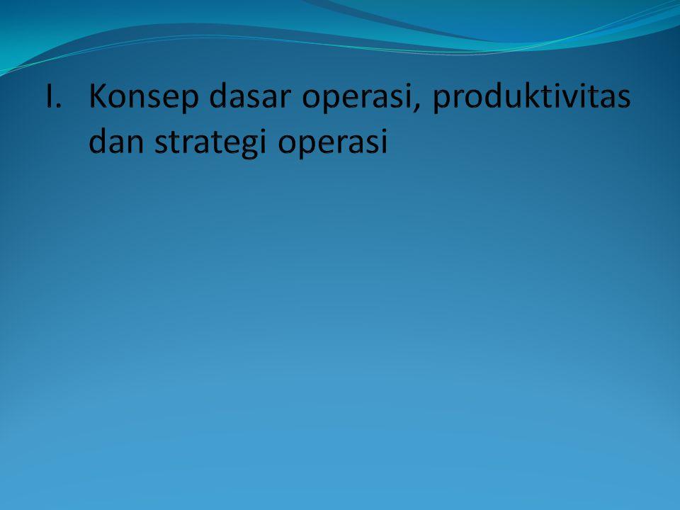 Konsep dasar operasi, produktivitas dan strategi operasi