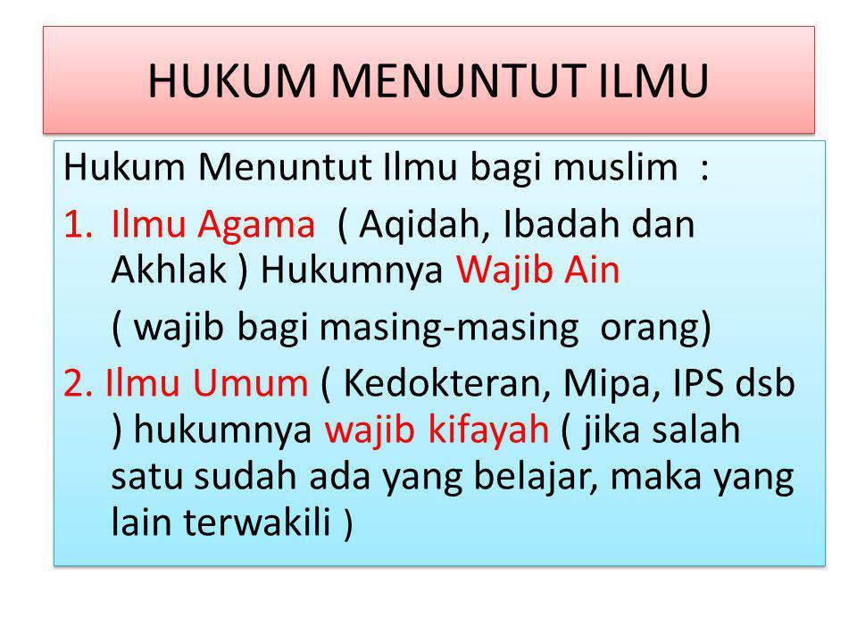 HUKUM MENUNTUT ILMU Hukum Menuntut Ilmu bagi muslim :