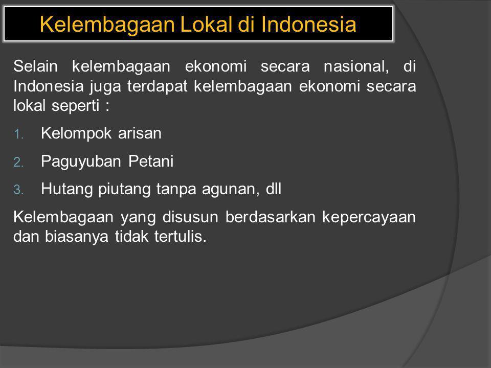 Kelembagaan Lokal di Indonesia