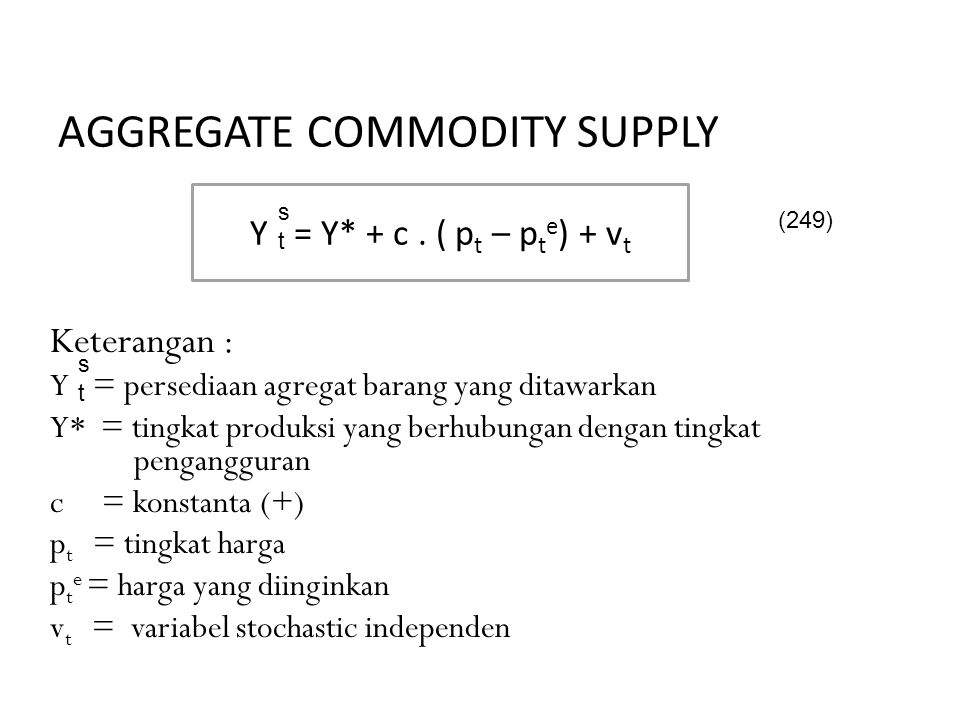Aggregate Commodity Supply