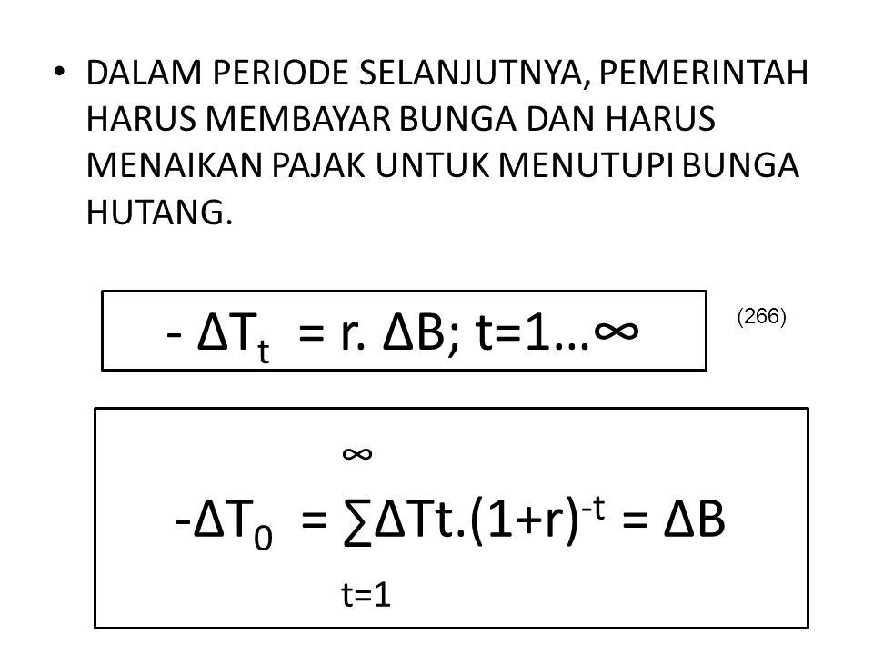 - ΔTt = r. ΔB; t=1…∞ ∞ ΔT0 = ∑ΔTt.(1+r)-t = ΔB t=1