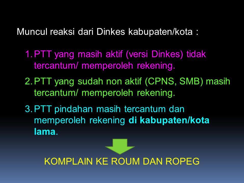 Muncul reaksi dari Dinkes kabupaten/kota :