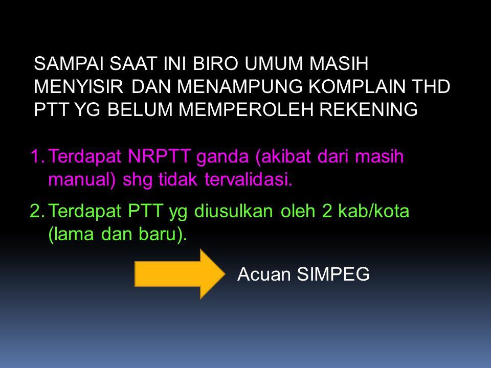 SAMPAI SAAT INI BIRO UMUM MASIH MENYISIR DAN MENAMPUNG KOMPLAIN THD PTT YG BELUM MEMPEROLEH REKENING