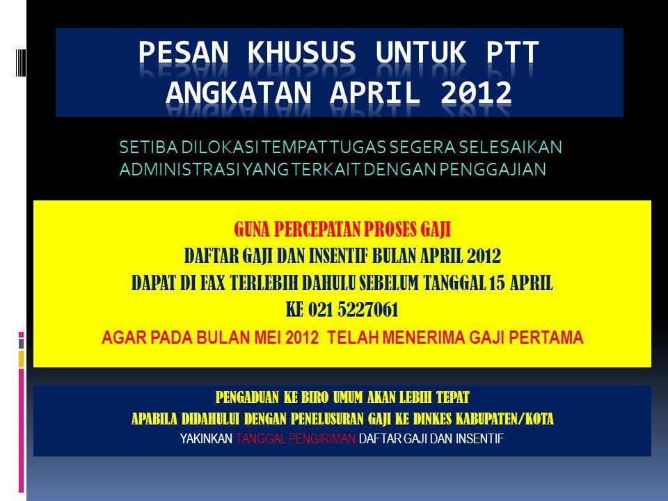PESAN KHUSUS UNTUK PTT ANGKATAN APRIL 2012
