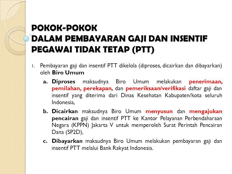 POKOK-POKOK DALAM PEMBAYARAN GAJI DAN INSENTIF PEGAWAI TIDAK TETAP (PTT)