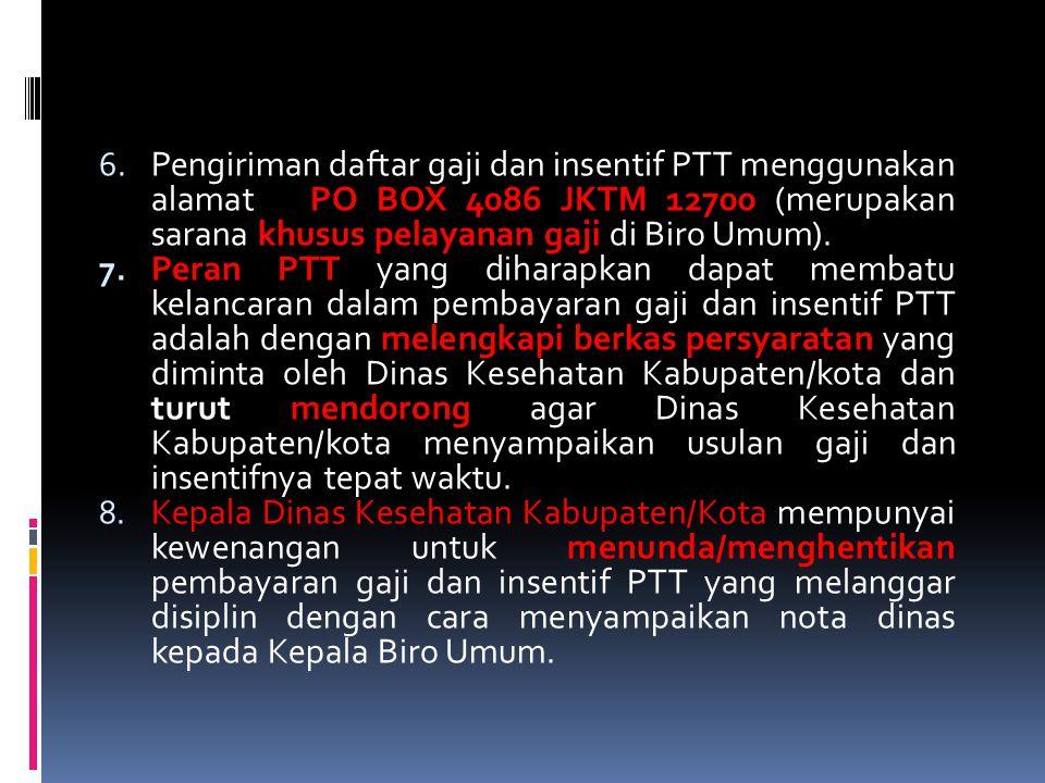 Pengiriman daftar gaji dan insentif PTT menggunakan alamat PO BOX 4086 JKTM 12700 (merupakan sarana khusus pelayanan gaji di Biro Umum).