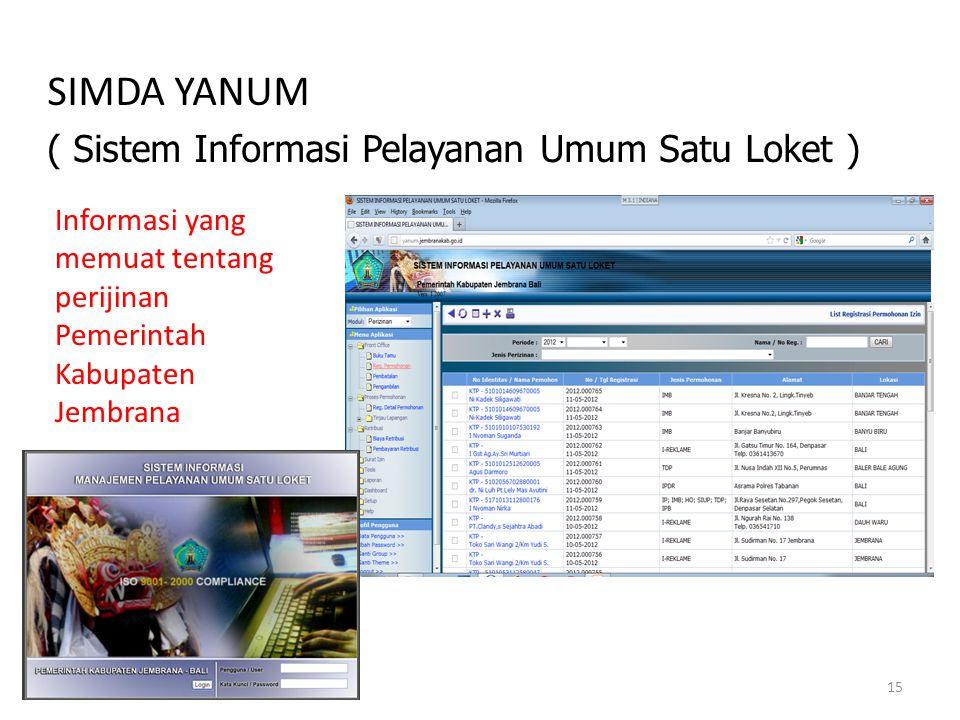 SIMDA YANUM ( Sistem Informasi Pelayanan Umum Satu Loket )