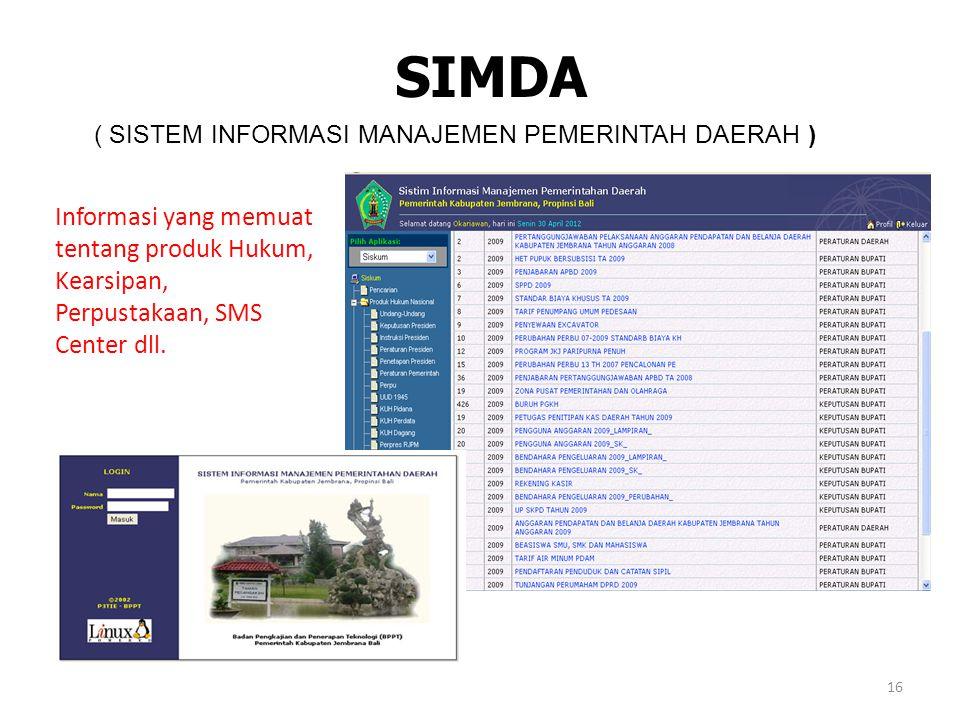 SIMDA ( SISTEM INFORMASI MANAJEMEN PEMERINTAH DAERAH ) Informasi yang memuat tentang produk Hukum, Kearsipan, Perpustakaan, SMS Center dll.