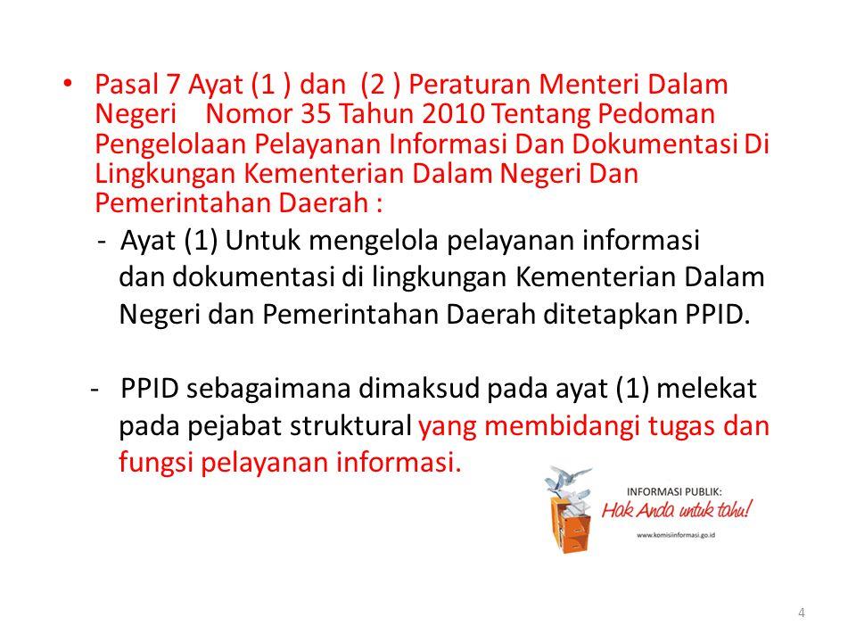 Pasal 7 Ayat (1 ) dan (2 ) Peraturan Menteri Dalam Negeri Nomor 35 Tahun 2010 Tentang Pedoman Pengelolaan Pelayanan Informasi Dan Dokumentasi Di Lingkungan Kementerian Dalam Negeri Dan Pemerintahan Daerah :