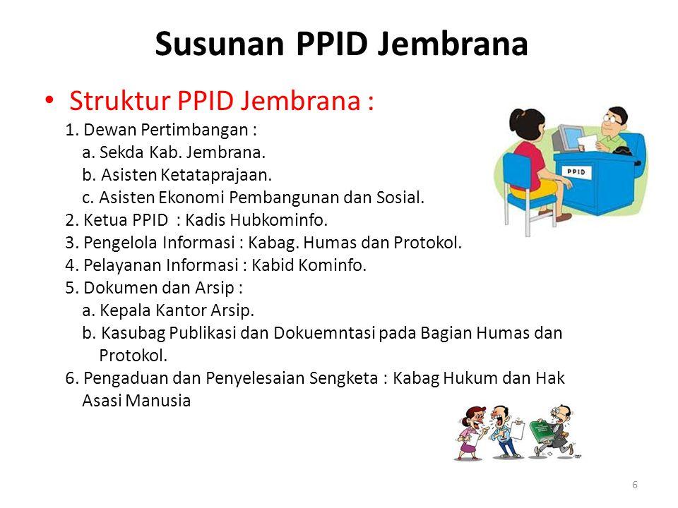 Susunan PPID Jembrana Struktur PPID Jembrana : 1. Dewan Pertimbangan :