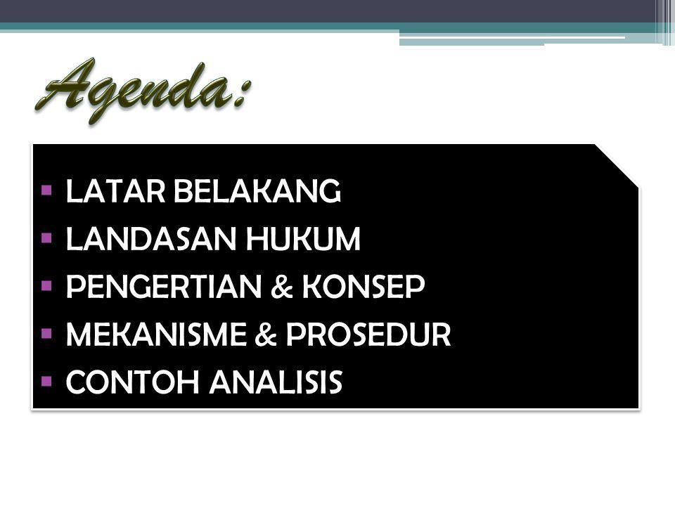 Agenda: LATAR BELAKANG LANDASAN HUKUM PENGERTIAN & KONSEP