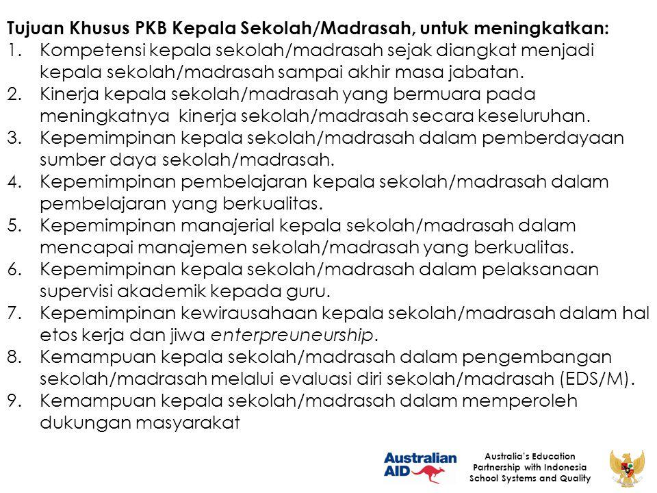 Tujuan Khusus PKB Kepala Sekolah/Madrasah, untuk meningkatkan: