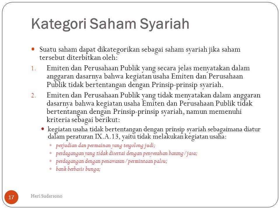 Kategori Saham Syariah