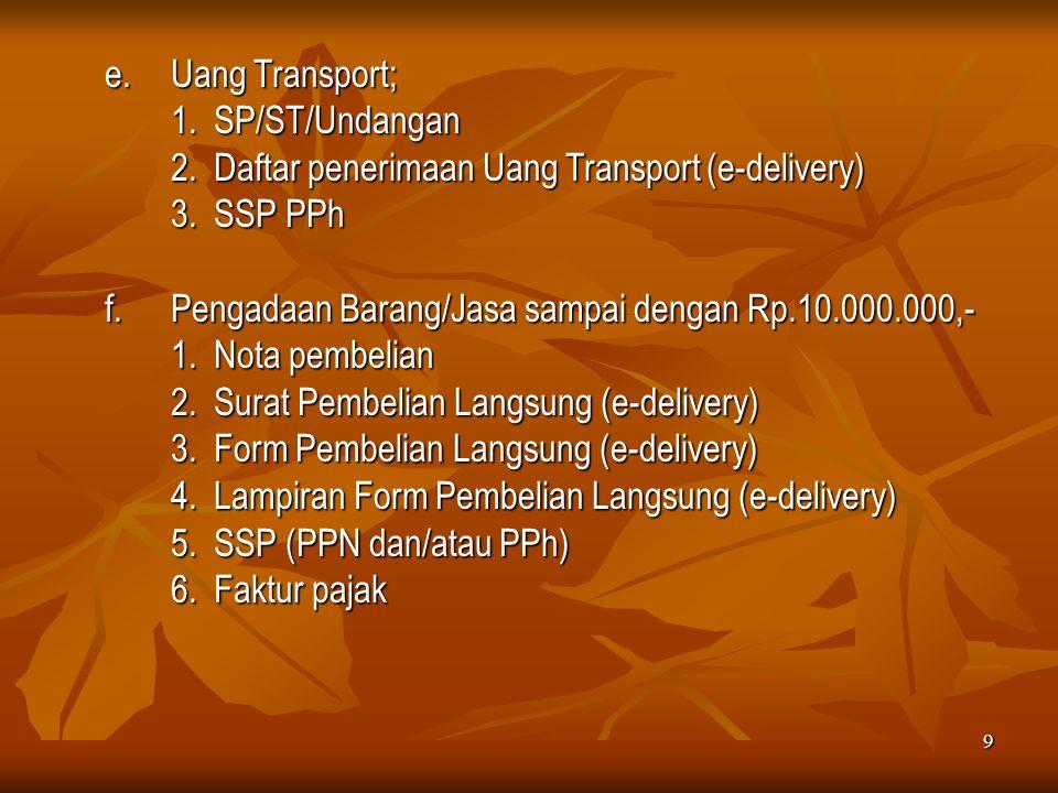 2. Daftar penerimaan Uang Transport (e-delivery) 3. SSP PPh