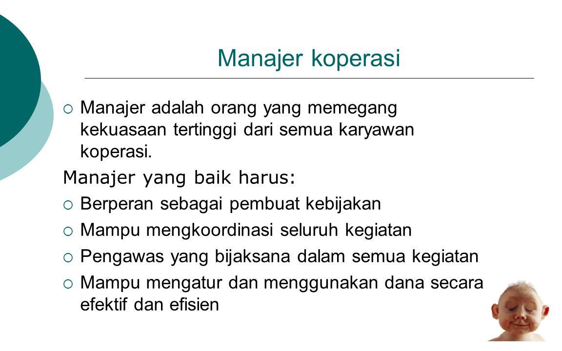 Manajer koperasi Manajer adalah orang yang memegang kekuasaan tertinggi dari semua karyawan koperasi.