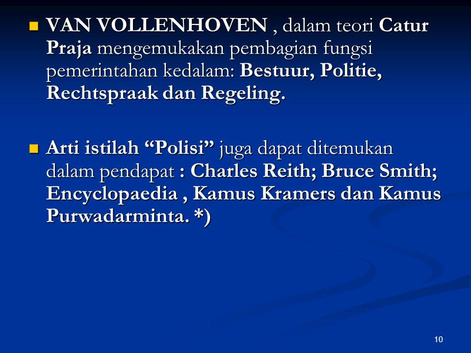 VAN VOLLENHOVEN , dalam teori Catur Praja mengemukakan pembagian fungsi pemerintahan kedalam: Bestuur, Politie, Rechtspraak dan Regeling.