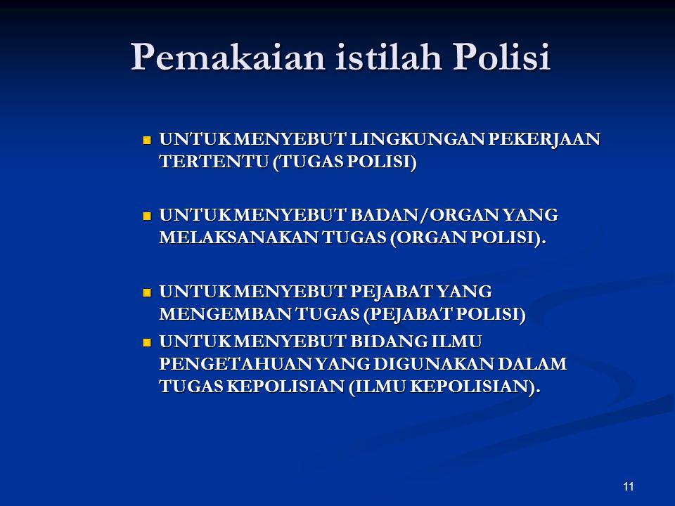 Pemakaian istilah Polisi