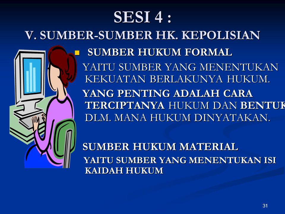 SESI 4 : V. SUMBER-SUMBER HK. KEPOLISIAN