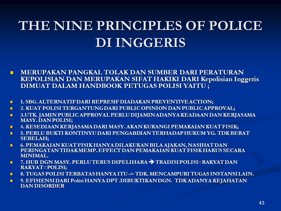THE NINE PRINCIPLES OF POLICE DI INGGERIS