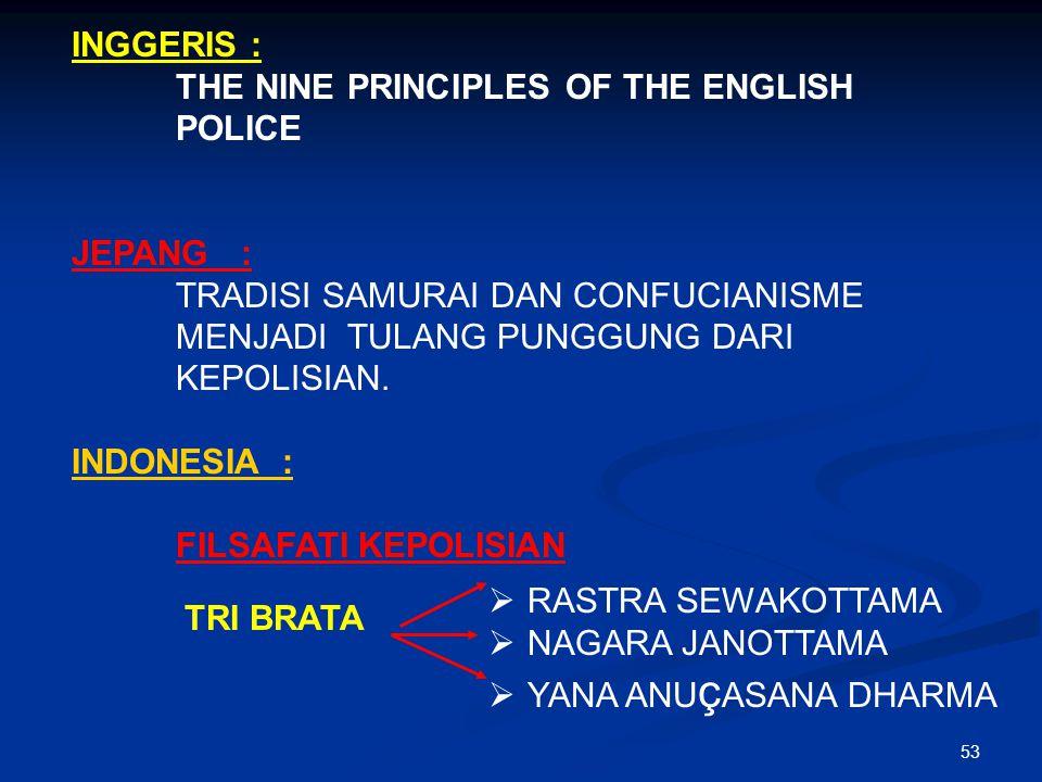 INGGERIS : THE NINE PRINCIPLES OF THE ENGLISH POLICE. JEPANG : TRADISI SAMURAI DAN CONFUCIANISME MENJADI TULANG PUNGGUNG DARI KEPOLISIAN.