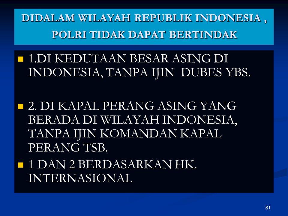 DIDALAM WILAYAH REPUBLIK INDONESIA , POLRI TIDAK DAPAT BERTINDAK