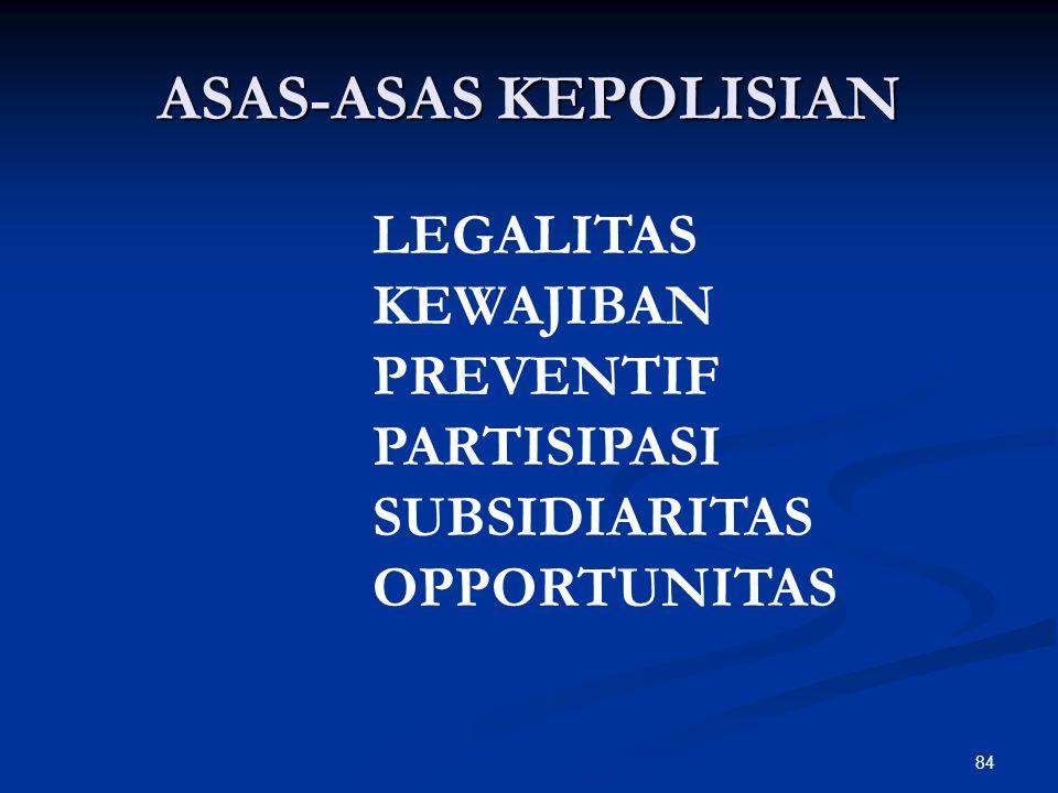 ASAS-ASAS KEPOLISIAN LEGALITAS KEWAJIBAN PREVENTIF PARTISIPASI
