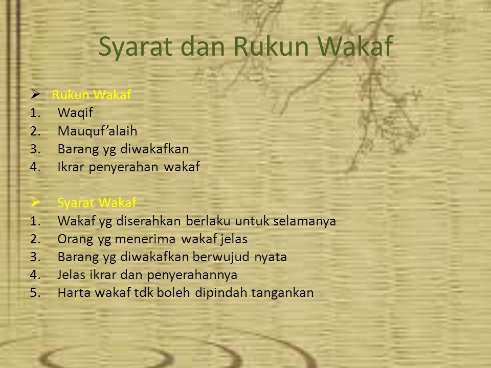 Syarat dan Rukun Wakaf Rukun Wakaf Waqif Mauquf'alaih