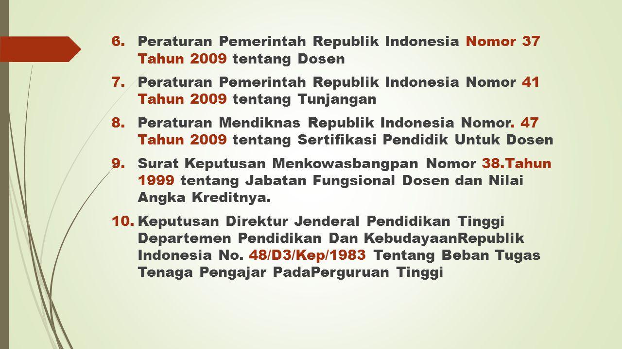 Peraturan Pemerintah Republik Indonesia Nomor 37 Tahun 2009 tentang Dosen
