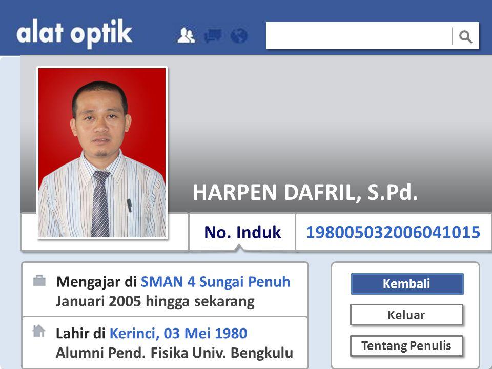 HARPEN DAFRIL, S.Pd. No. Induk 198005032006041015
