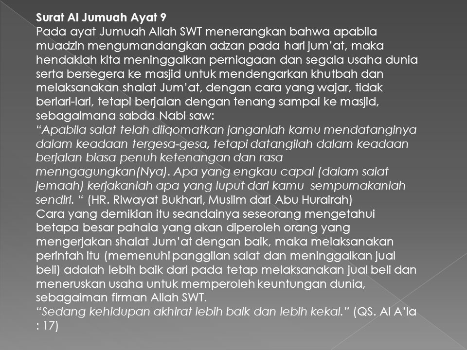 Surat Al Jumuah Ayat 9