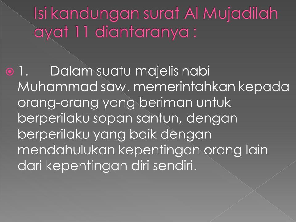 Isi kandungan surat Al Mujadilah ayat 11 diantaranya :